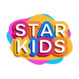 Vector ster kids logo. Cartoon colorful style for children school, kids play, game zone, shop, baby club, clothes, play room, toys shop, cafe, banner, education stock illustration