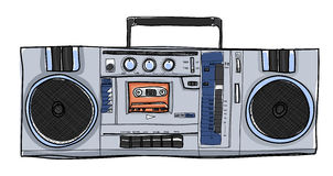 Vector Stereo Boombox radio Vintage  handdrawn illustration Royalty Free Stock Images