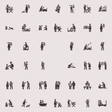 Vector stick figure children and family Royalty Free Stock Images