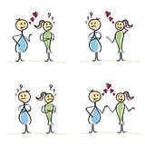 Vector stick figures relationship between lovers. Man and woman of their Royalty Free Stock Image