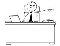 Vector Stick Man Cartoon of Boss Firing Dismissing a Worker. Cartoon vector stick man stickman drawing of boss behind office desk pointing his left arm to fire Stock Photography