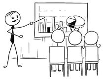 Vector Stick Man Cartoon of Boss or Teacher Presenting Graphs to Royalty Free Stock Photo