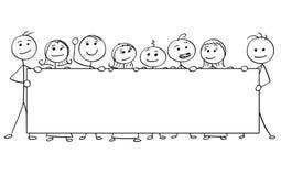 Vector Stick Man Cartoon of Eight People Holding a Large Empty. Cartoon vector stick man stickman drawing of eight smiling people holding a large empty sign royalty free illustration