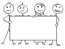 Vector Stick Man Cartoon of Four People Holding a Large Empty. Cartoon vector stick man stickman drawing of four smiling people holding a large empty sign Stock Image