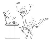 Vector Stick Man Cartoon of Happy Man Celebrating a Success. Cartoon vector stick man stickman drawing of happy man jumping in front of the desktop computer to Royalty Free Stock Photo