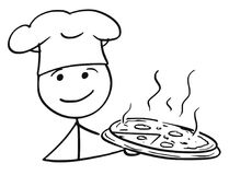 Vector Stick Man Cartoon of Male Cook Chef in Hat Holding Plate Stock Images