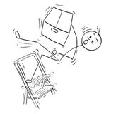 Vector Stick Man Cartoon of Man Falling from Stepladder ladder   Stock Images