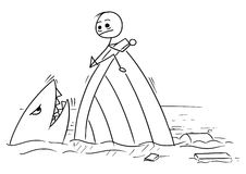Vector Stick Man Cartoon of Man Holding on the Shipwreck with Sh Stock Image