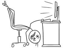 Vector Stick Man Cartoon of Man Lying on the Office Chair Tired. Cartoon vector doodle stick man office worker is lying legs up on the chair in front of the Stock Photos