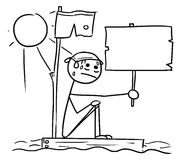 Vector Stick Man Cartoon of Man Sitting Lost on the Wreck Piece. Cartoon vector stick man man lost on the ocean after ship wrecking, with empty sign sitting Stock Photography