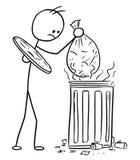 Vector Stick Man Cartoon of Men Throwing Waste Trash Bag in to T. Cartoon vector stickman men is throwing putting the bag with trash waste in to smelling dustbin Stock Photo