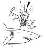 Vector Stick Man Cartoon of Scuba Diver Meet Large Shark Royalty Free Stock Image