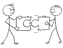 Vector Stick Man Cartoon of Two Men Holding a Large Jigsaw
