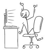 Vector Stick Man Cartoon of Very Happy Man Watching Computer Scr. Cartoon vector doodle stick man office worker is watching the computer screen and jumping happy Stock Photography