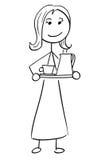Vector Stick Man Cartoon of Woman Female Assistant Secretary. Cartoon vector stick man stickman drawing of woman female secretary assistant holding a tray Stock Photography