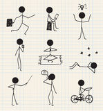 Vector stick man, figure hand drawn daily life Stock Images