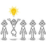 Vector stick man light bulb idea. Vector stick man: Stick figures standing in line, one having light bulb idea Stock Photos