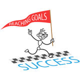 Vector stick man reaching goals success Royalty Free Stock Image