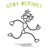Vector stick man running fitness slogan. Vector stick man: Running healthy stick figure with stay active fitness slogan Royalty Free Stock Image