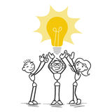 Vector stick man teamwork light bulb Royalty Free Stock Photography
