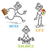 Vector stick man work life balance Stock Images