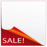 Vector sticker. The sticker on the sale of red and white Stock Photos