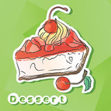 Vector sticker with cherry pie. Stock Images