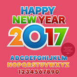 Vector sticker colorful Happy New Year 2017 greeting card. With set of letters, symbols and numbers. File contains graphic styles Royalty Free Stock Photography