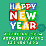 Vector sticker Happy New Year 2017 greeting card. With set of letters, symbols and numbers. File contains graphic styles Stock Photo