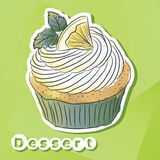 Vector sticker with lemon cake. Royalty Free Stock Photography