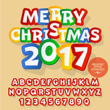 Vector sticker Merry Christmas 2017 greeting card. With set of letters, symbols and numbers. File contains graphic styles Royalty Free Stock Photos