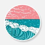 Vector sticker with painted ocean and waves stock photos