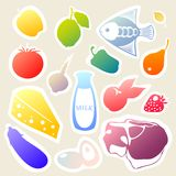 Vector sticker set with food and drinks. Stock Photos