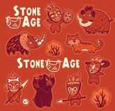 Vector sticker set of prehistoric animals and people in masks Royalty Free Stock Photo