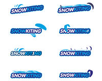 Vector sticker snowkiting Stock Image