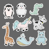 Vector stickers with baby animals . Cartoon illustrations Stock Photography