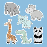 Vector stickers with baby animals . Cartoon illustrations Royalty Free Stock Photos