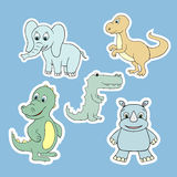 Vector stickers with baby animals . Cartoon illustrations Royalty Free Stock Images
