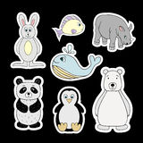 Vector stickers with baby animals . Cartoon illustrations Stock Image