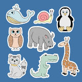 Vector stickers with baby animals . Cartoon illustrations Stock Photos