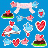 Vector stickers with birds in love and friendship. Stock Photo