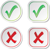 Vector stickers - check marks Royalty Free Stock Image