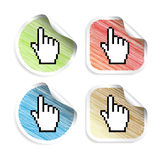 Vector stickers with cursor of hand Stock Photography