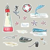Marine objects set. Pen drawing with watercolor style background. stock illustration