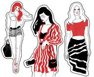 Fashion sketches beautiful girls Royalty Free Stock Photos