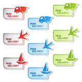 Vector stickers of free delivery Stock Images