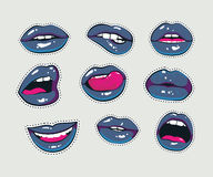 Vector stickers kit of female lips with gothic blue lipstick. Woman mouth with a kiss Stock Image