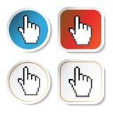 Vector stickers met curseur van hand Stock Fotografie