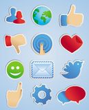 Vector stickers met sociale media pictogrammen Stock Foto