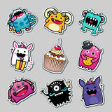 Vector Stickers monsters for kids. Vector stickers monsters and food for kids Royalty Free Stock Image